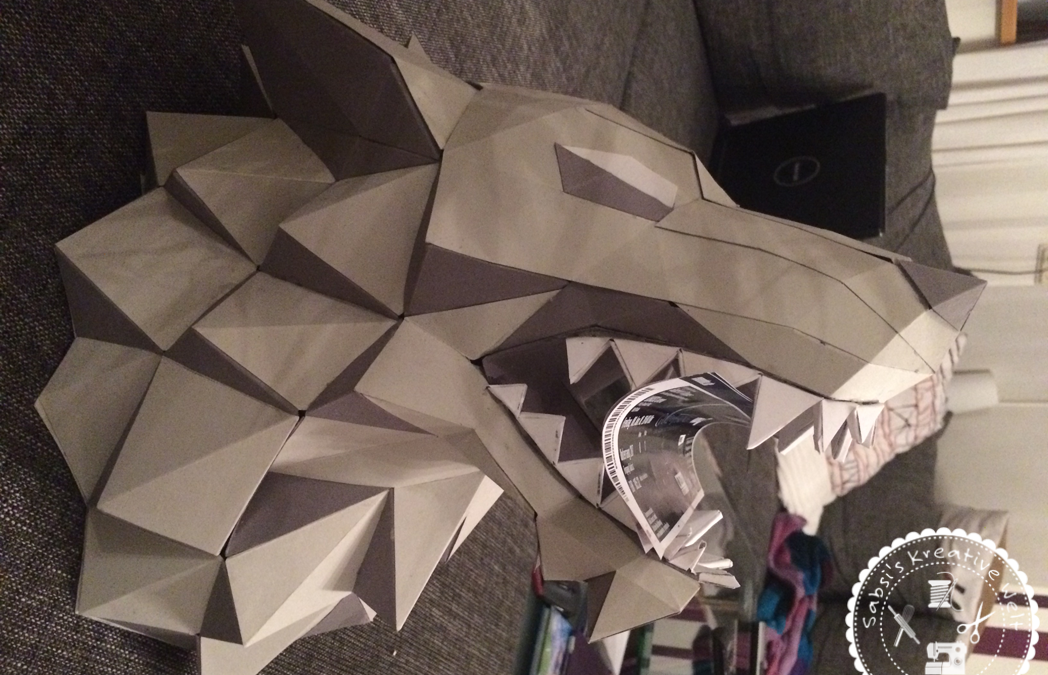 Schattenwolf von Game of Thrones als Pepakura