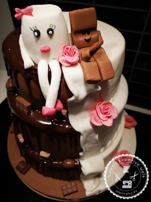3-stöckige Milch & Schokolade Hochzeitstorte